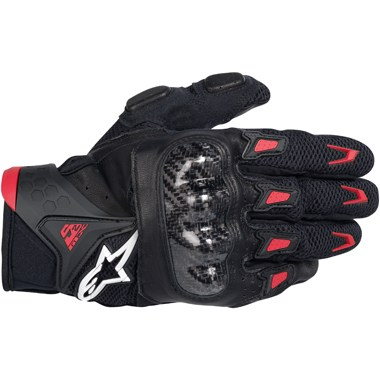 Alpinestars SMX-2 Air Carbon Motorcycle gloves, in Black and Red
