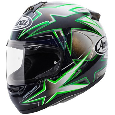 Arai Axces 2 Motorcycle Helmet in the Asteroid Green graphic