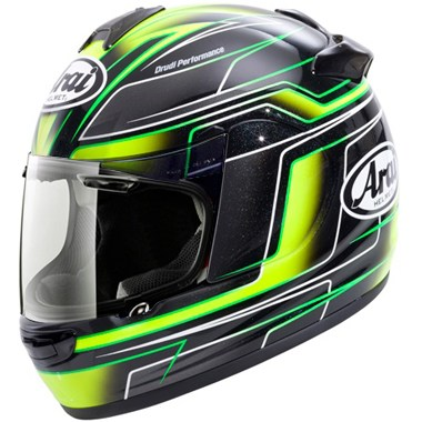 Arai Chaser V Motorcycle Helmet in the Electric Green, Yellow, White and Black graphic