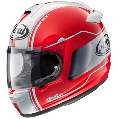 Arai Chaser V Motorcycle Helmet in the Raw Red and White graphic