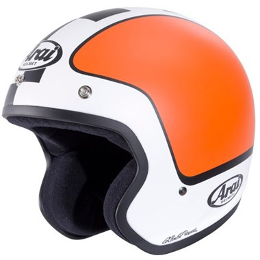 Arai Freeway 2 Open Face Motorcycle Helmet, in the Beat White and Orange graphic