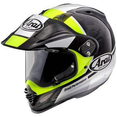 Arai Tour X4 Motorcycle Helmet in the Mission Neon Yellow, Black and White graphic