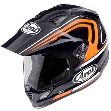 Arai Tour X4 Motorcycle Helmet in the Venture Black and Orange graphic