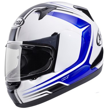 Arai Quantum ST Motorcycle Helmet in the Reverse Blue and White graphic