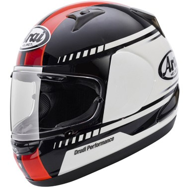 Arai Quantum ST Motorcycle Helmet in the Transit Red, White and Black graphic