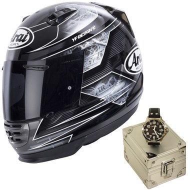 Arai Rebel Motorcycle Helmet in the Chronus Black graphic with a limited edition Arai TW Steel Watch included