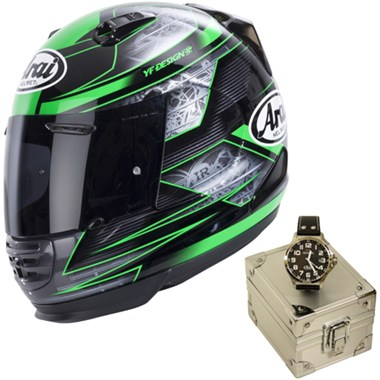 Arai Rebel Motorcycle Helmet in the Chronus Green graphic with a limited edition Arai TW Steel Watch