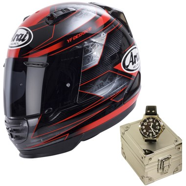 Arai Rebel Motorcycle Helmet in the Chronus Red graphic with the limited edition Arai TW Steel Watch