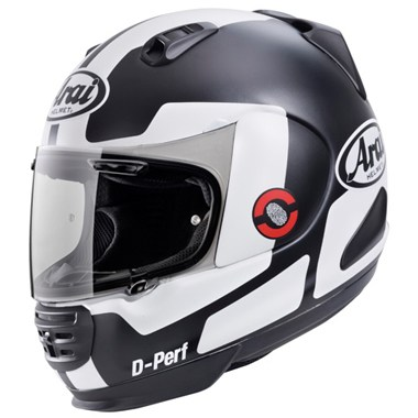 Arai Rebel Motorcycle Helmet in the Prospect Red, White and Black graphic