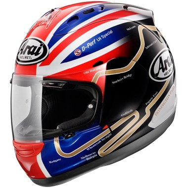 Arai RX7GP Motorcycle Helmet in the Haslam Track graphic
