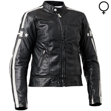Halvarssons Seventy Lady Leather Motorcycle Jacket, in Black and White