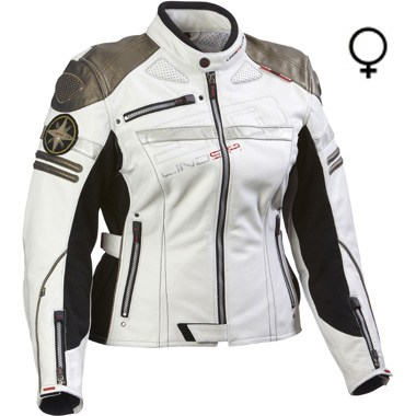 Lindstrands Camaro Ladies Leather Motorcycle Jacket, in Off White and Bronze, uses Hi Art and Triple Stitch technologies