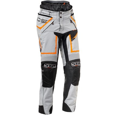 Lindstrands Q Pants Textile Motorcycle Jeans in Light Grey and Neon Orange