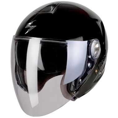 Scorpion Exo 210 Open Face Motorcycle Helmet in Gloss Black