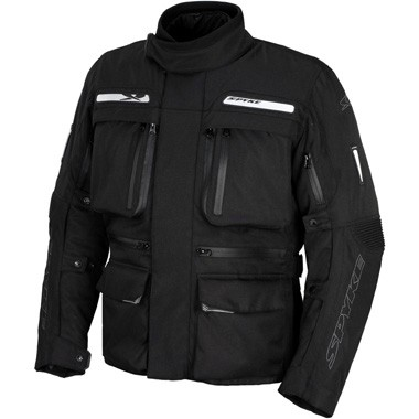 Spyke Cruiser Waterproof Motorcycle Textile Jacket in Black.