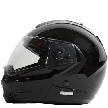 Caberg Konda Flip-front Metal Black design motorcycle helmet image shows the left side view.