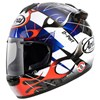 Arai Chaser V Motorcycle Helmet in the Alloy Red, Blue, Black and White graphic