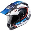 Arai Tour X4 Motorcycle Helmet in the Detour Blue, White, Red and Black graphic