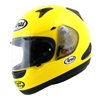 Ride Before You Buy With Arai, Quantum Motorcycle Helmet in bright Yellow with see through vents and side pods.
