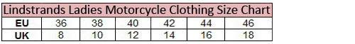Sizing chart for Lindstrands Ladies Motorcycle Clothing