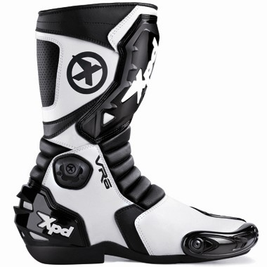 XPD VR6 Motorcycle Boots Black and White