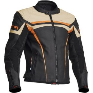 Lindstrands_chrome_leather_motorcycle_jacket_black_orange_beige