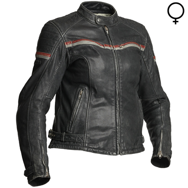 Halvarssons Eagle Lady Leather Motorcycle Jacket in Black and Red