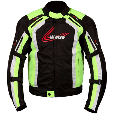 Weise Corsa Textile Motorcycle Jacket in Black and Neon Yellow