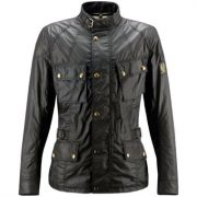 Belstaff Crosby Waxed Cotton Motorcycle Jacket in Black