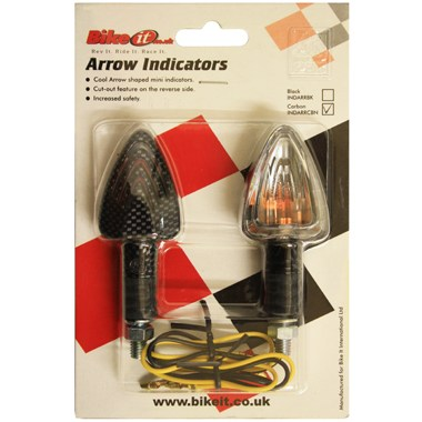 Bike It Motorcycle Arrow Indicators Carbon with Clear Lens