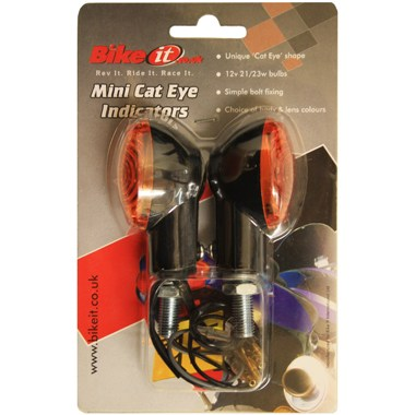 Bike It Universal Motorcycle Mini Indicators Cat Eye Black Amber