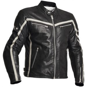 Halvarssons 310 Men Leather Motorcycle Jacket Black White