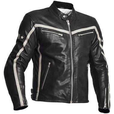 Halvarssons 310 Men Leather Motorcycle Jacket Black White