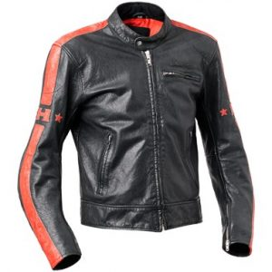 Halvarssons Seventy Leather Motorcycle Jacket Black and Red