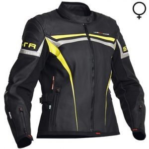 Lindstrands Cam Lady Leather Motorcycle Jacket Black Yellow Silver