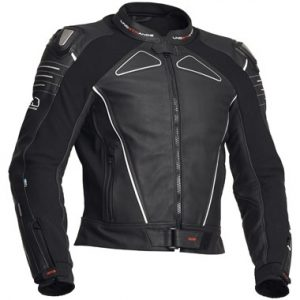Lindstrands Chamber Leather Motorcycle Jacket Black White