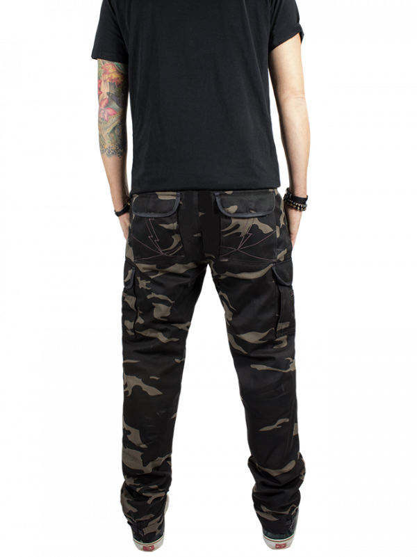 John Doe Kevlar Cargo Pants Slimcut Camouflage Short Leg back view