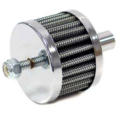 K&N 12mm Crankcase Vent Filter push in Chrome Top stud mount