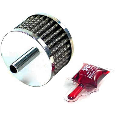 K&N 12mm Crankcase Vent Filter push in Chrome Top