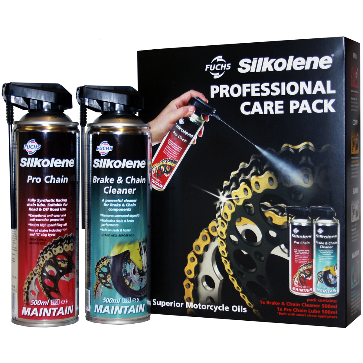 Silkolene Professional Care Pack Chain Lube and Cleaner