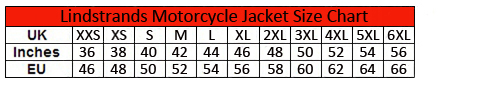 Lindstrands Halden Textile Motorcycle Jacket size chart