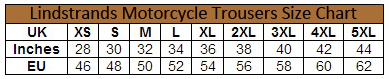Lindstrands Volda Textile Motorcycle Trousers size chart