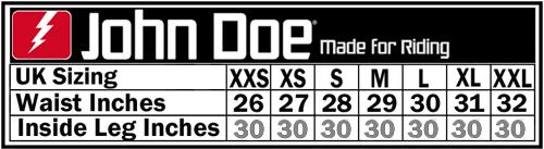 John Doe Betty High Black XTM Ladies Short Leg Motorcycle Jeans Size Chart
