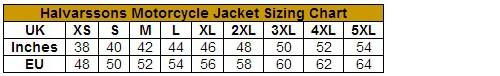 Halvarssons Selja Waterproof Leather Motorcycle Jacket size guide