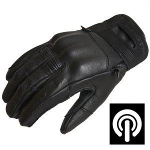 Lindstrands Holarna Short Leather Motorcycle Gloves Black