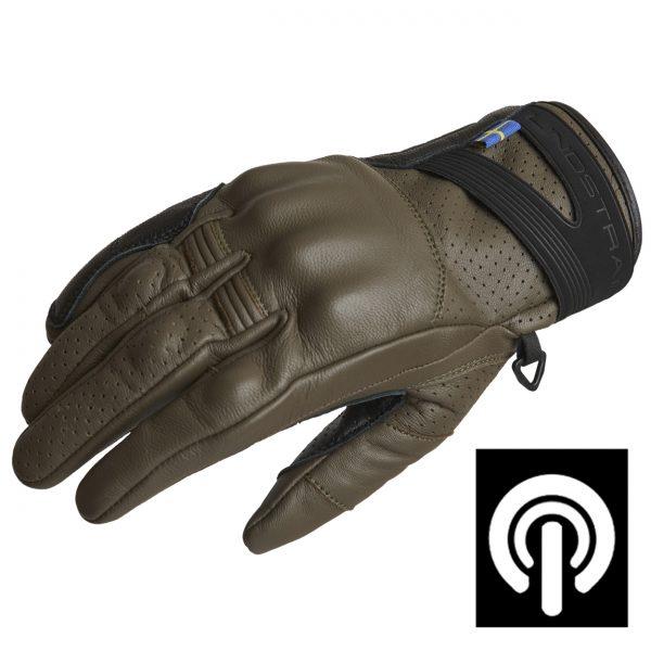 Lindstrands Holarna Short Leather Motorcycle Gloves Black Green