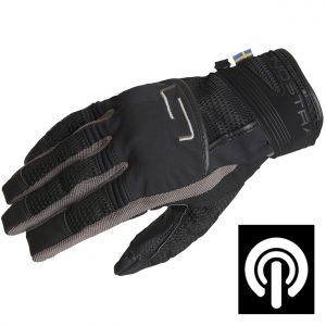 Lindstrands Nyhusen Short Textile Motorcycle Gloves Black Grey