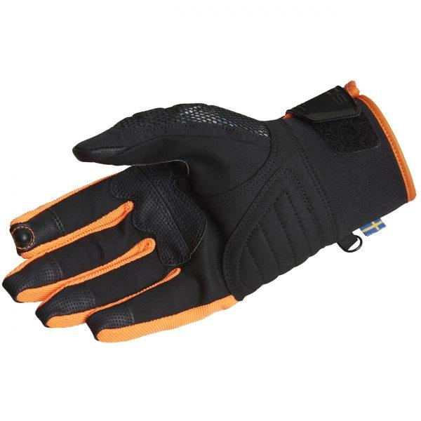 Lindstrands Nyhusen Short Textile Motorcycle Gloves Black Orange