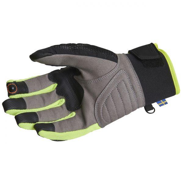 Lindstrands Nyhusen Short Textile Motorcycle Gloves Black Yellow